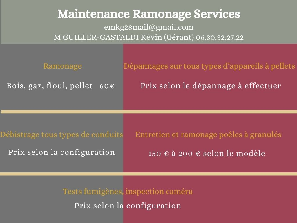 Tarifs Maintenance Ramonage Services M GUILLER K